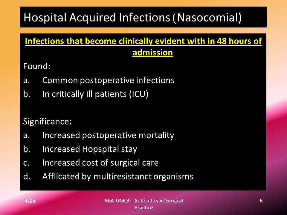 Nasocomial)) Hospital Acquired Infections