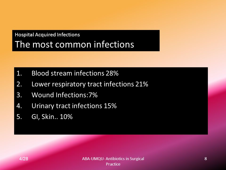 Hospital Acquired Infections The most common infections