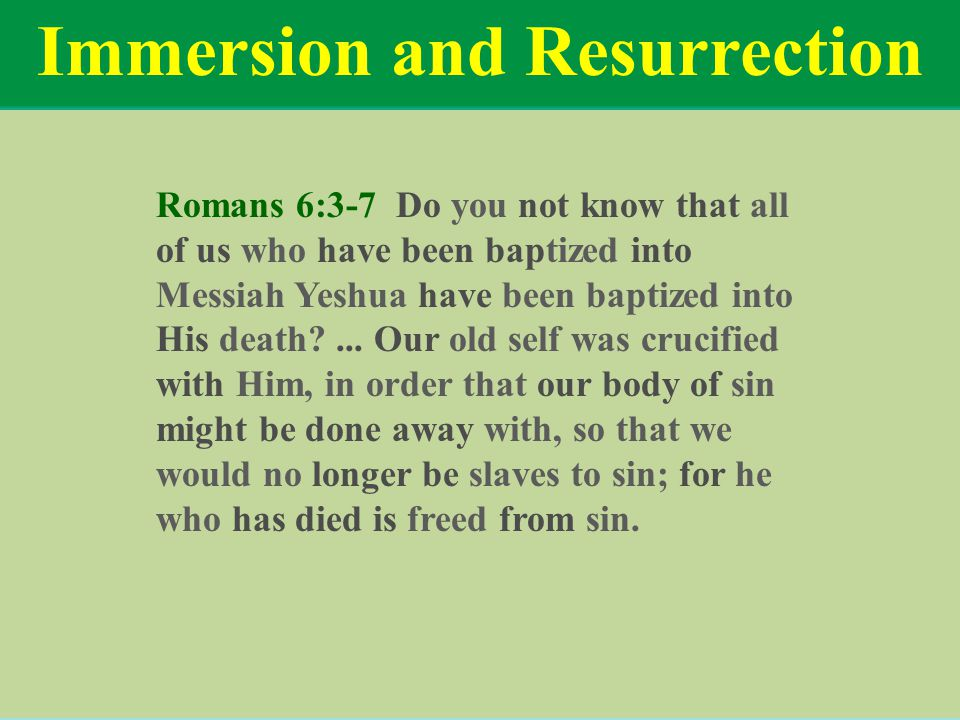 Immersion and Resurrection