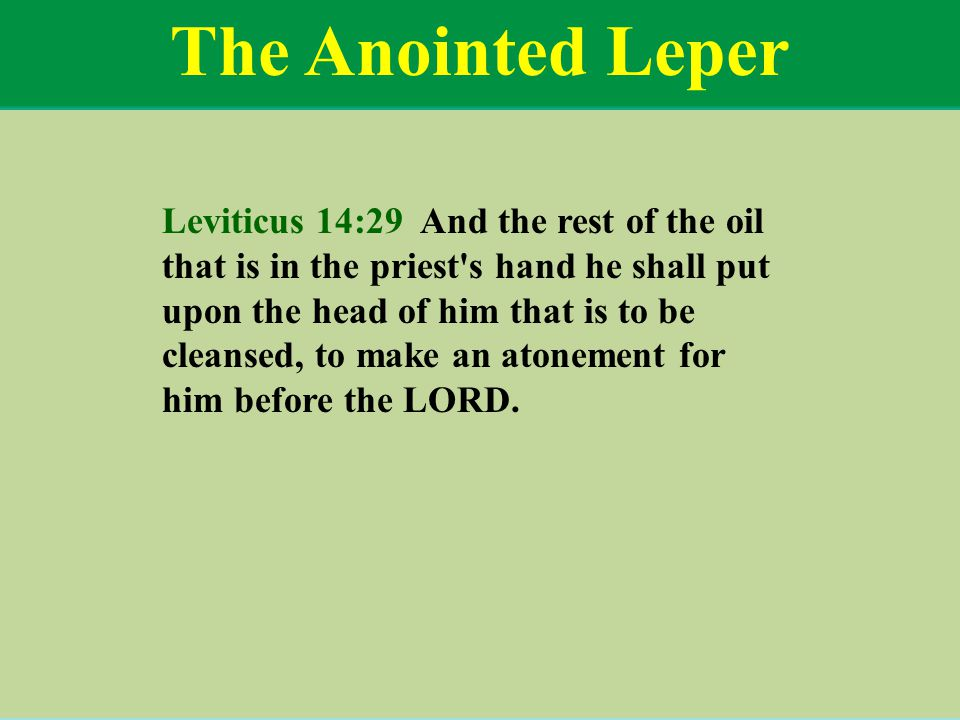 The Anointed Leper