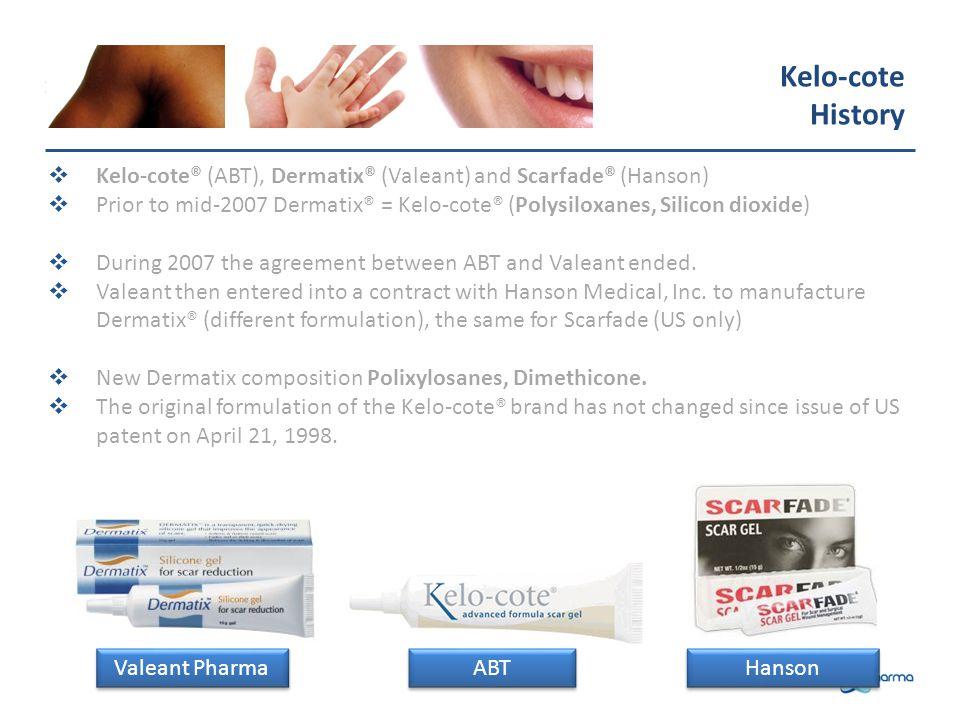 Kelo-cote History. Kelo-cote® (ABT), Dermatix® (Valeant) and Scarfade® (Hanson)