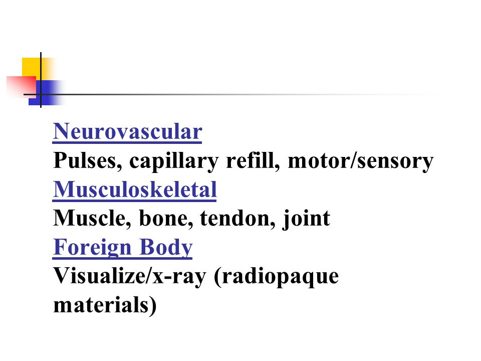 Neurovascular Pulses, capillary refill, motor/sensory Musculoskeletal Muscle, bone, tendon, joint Foreign Body Visualize/x-ray (radiopaque materials)