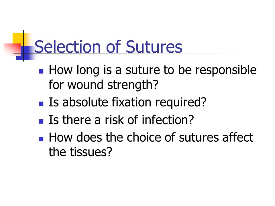 Selection of Sutures How long is a suture to be responsible for wound strength Is absolute fixation required