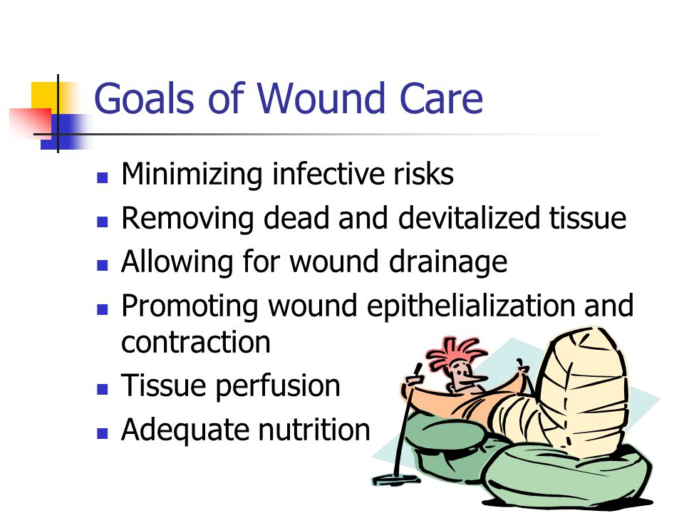 Goals of Wound Care Minimizing infective risks