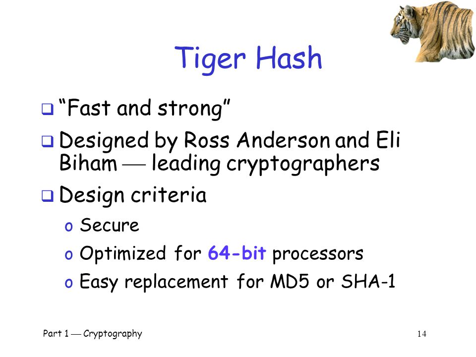 Tiger Hash Fast and strong