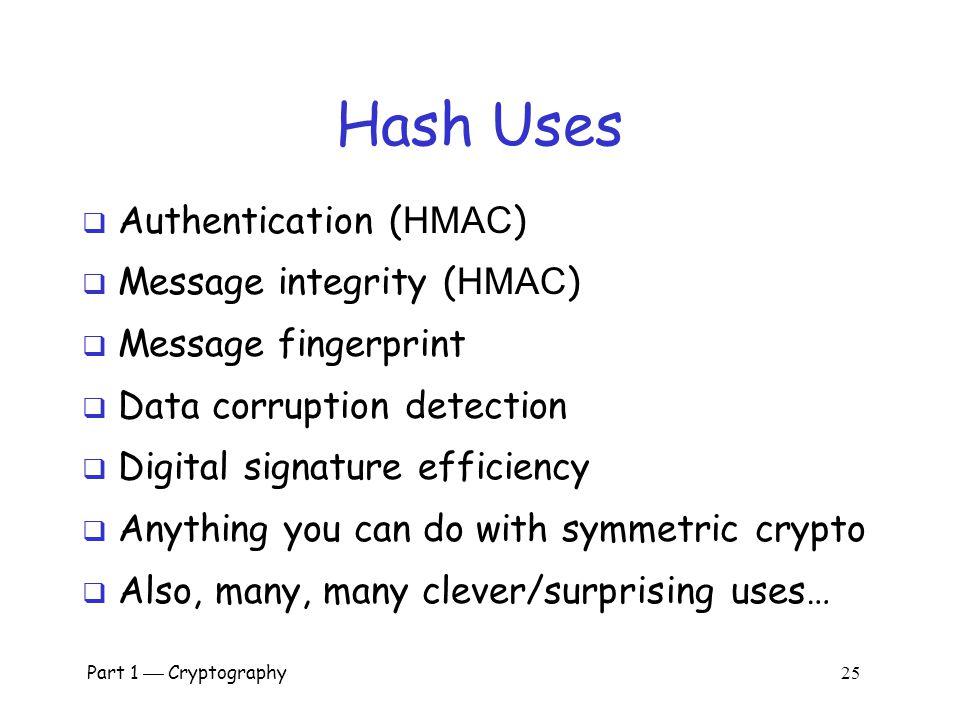 Hash Uses Authentication (HMAC) Message integrity (HMAC)