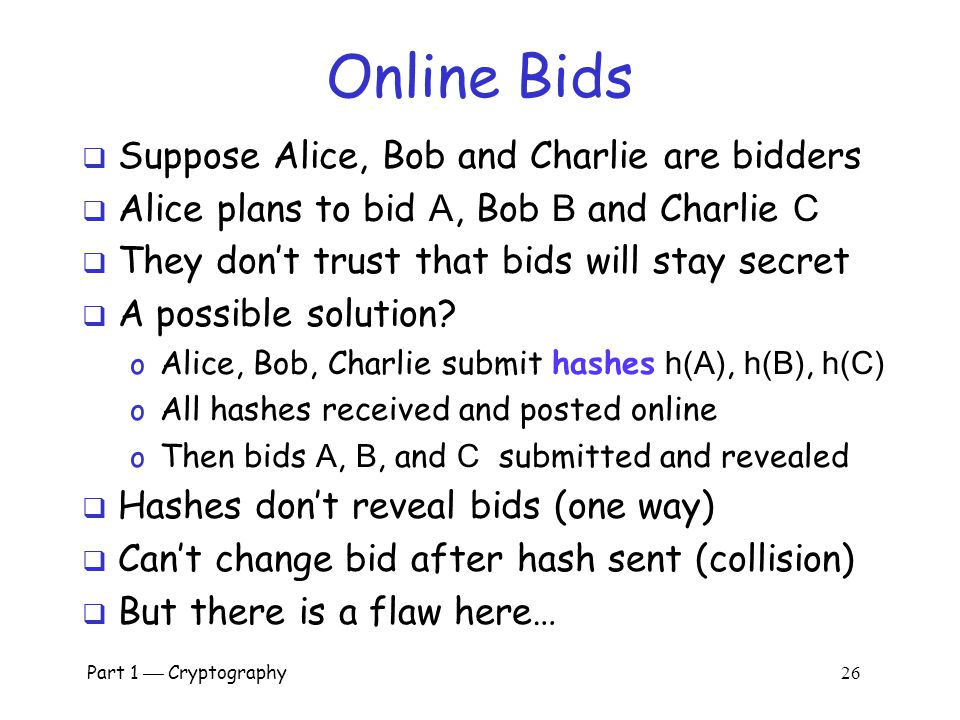 Online Bids Suppose Alice, Bob and Charlie are bidders