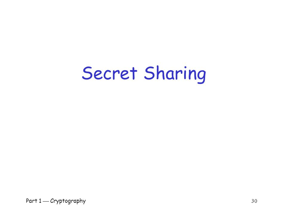 Secret Sharing Part 1  Cryptography 30.
