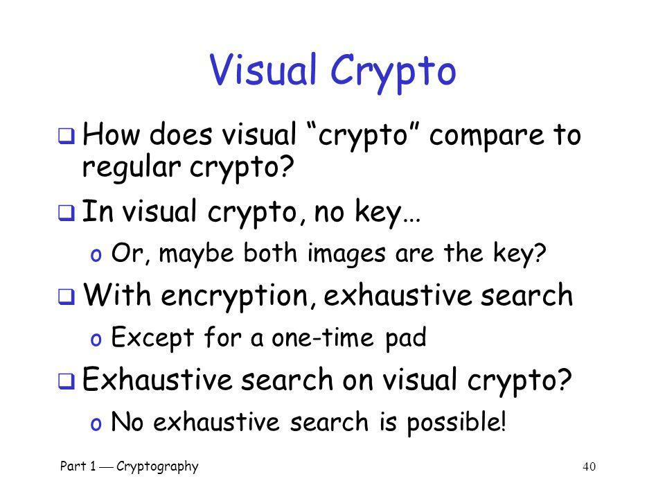 Visual Crypto How does visual crypto compare to regular crypto