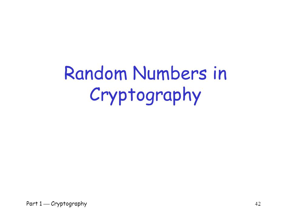 Random Numbers in Cryptography