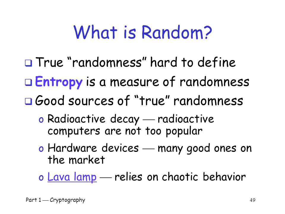 What is Random True randomness hard to define