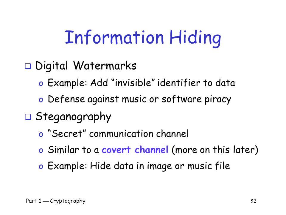 Information Hiding Digital Watermarks Steganography