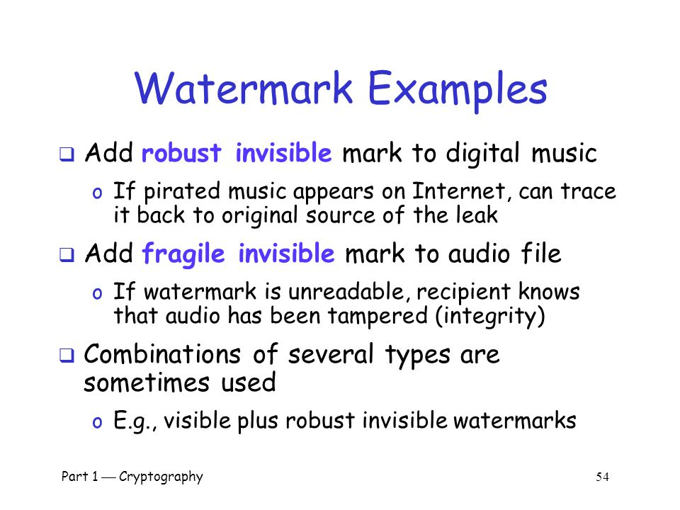Watermark Examples Add robust invisible mark to digital music