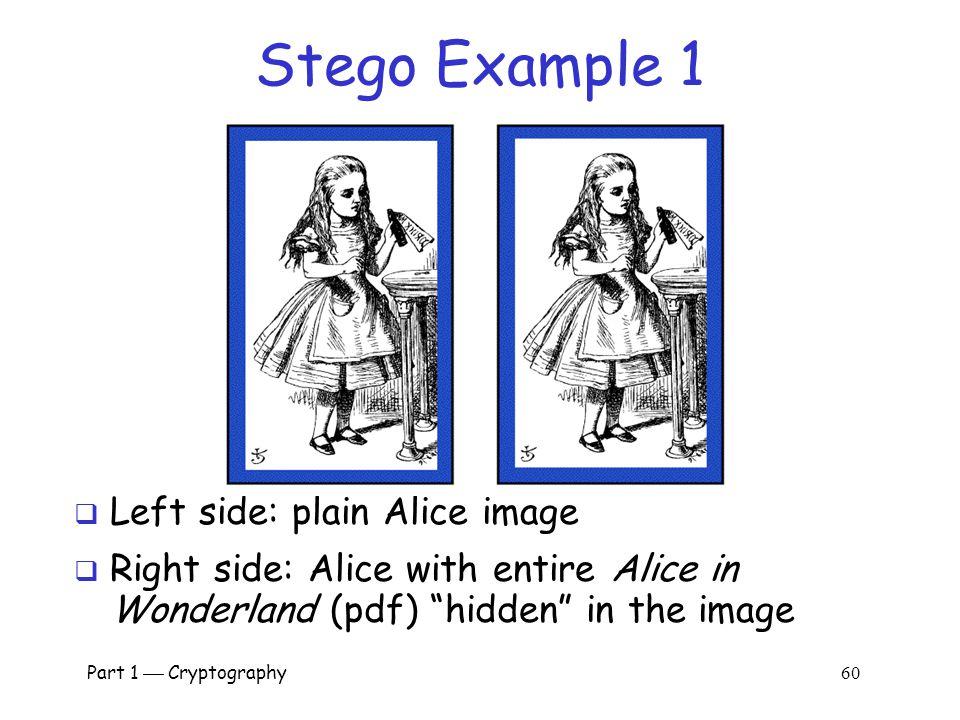 Stego Example 1 Left side: plain Alice image