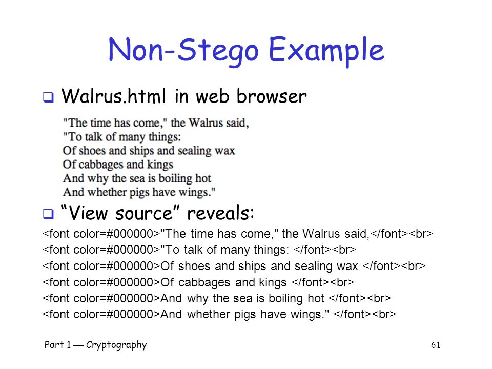 Non-Stego Example Walrus.html in web browser View source reveals: