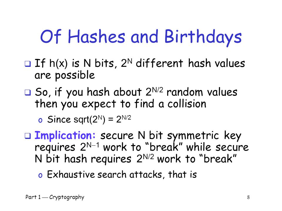 Of Hashes and Birthdays