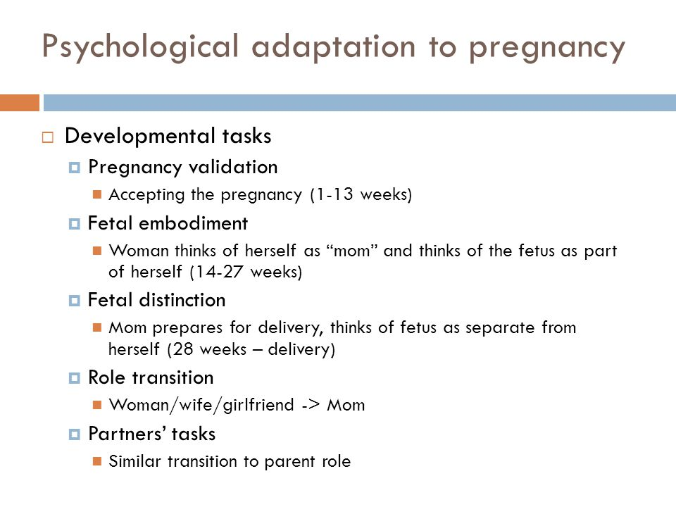 Psychological adaptation to pregnancy