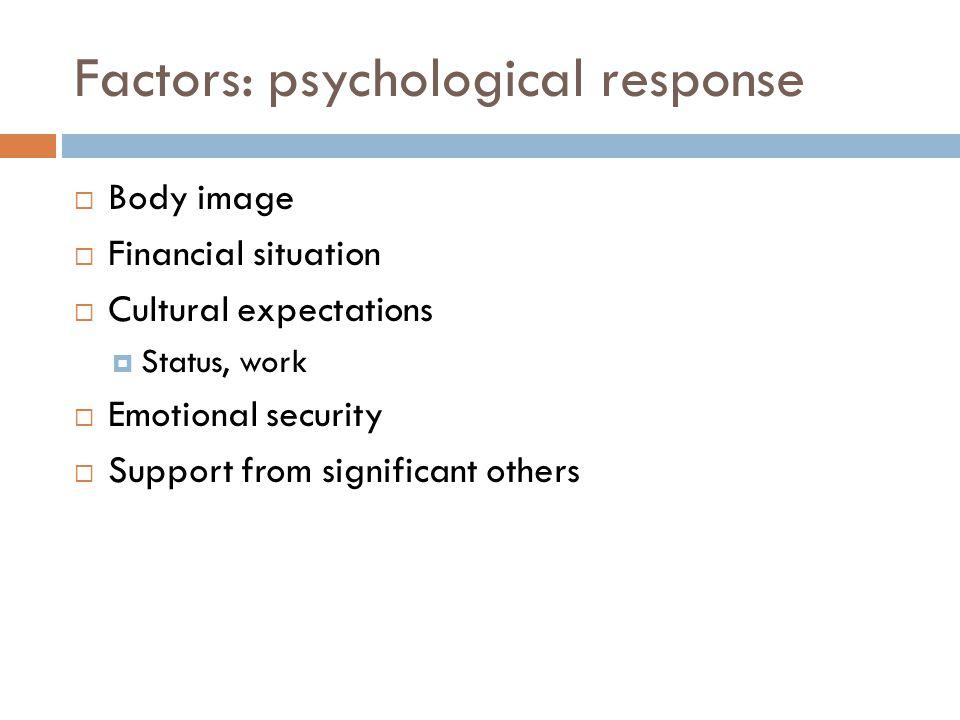 Factors: psychological response