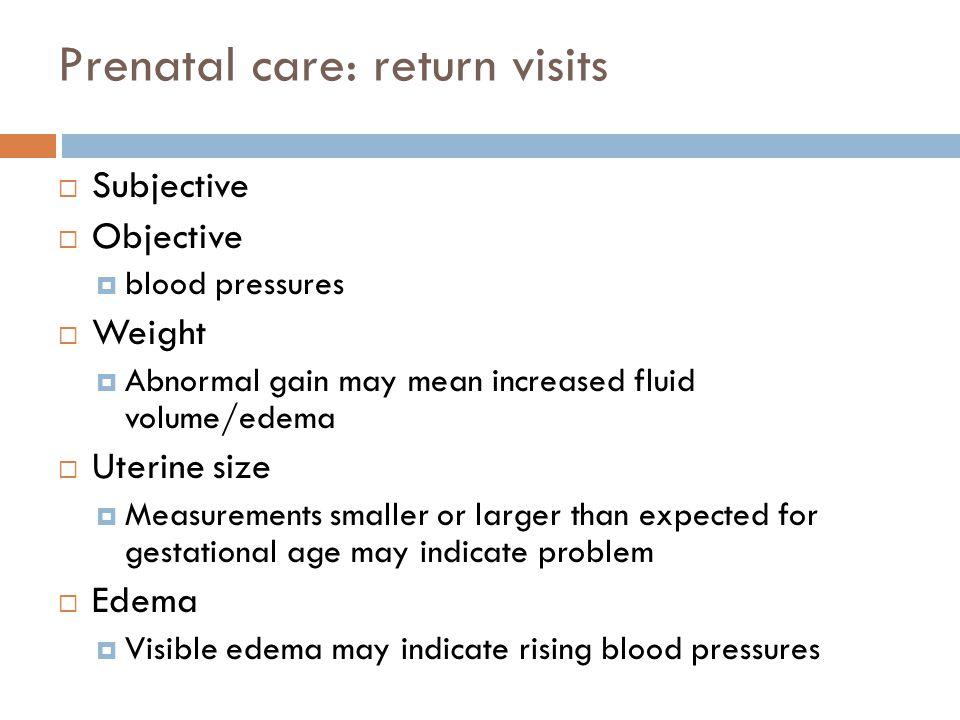 Prenatal care: return visits