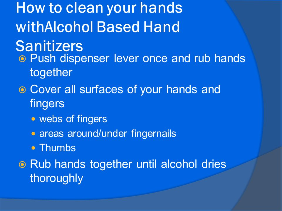 How to clean your hands withAlcohol Based Hand Sanitizers