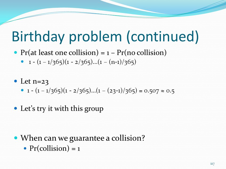 Birthday problem (continued)