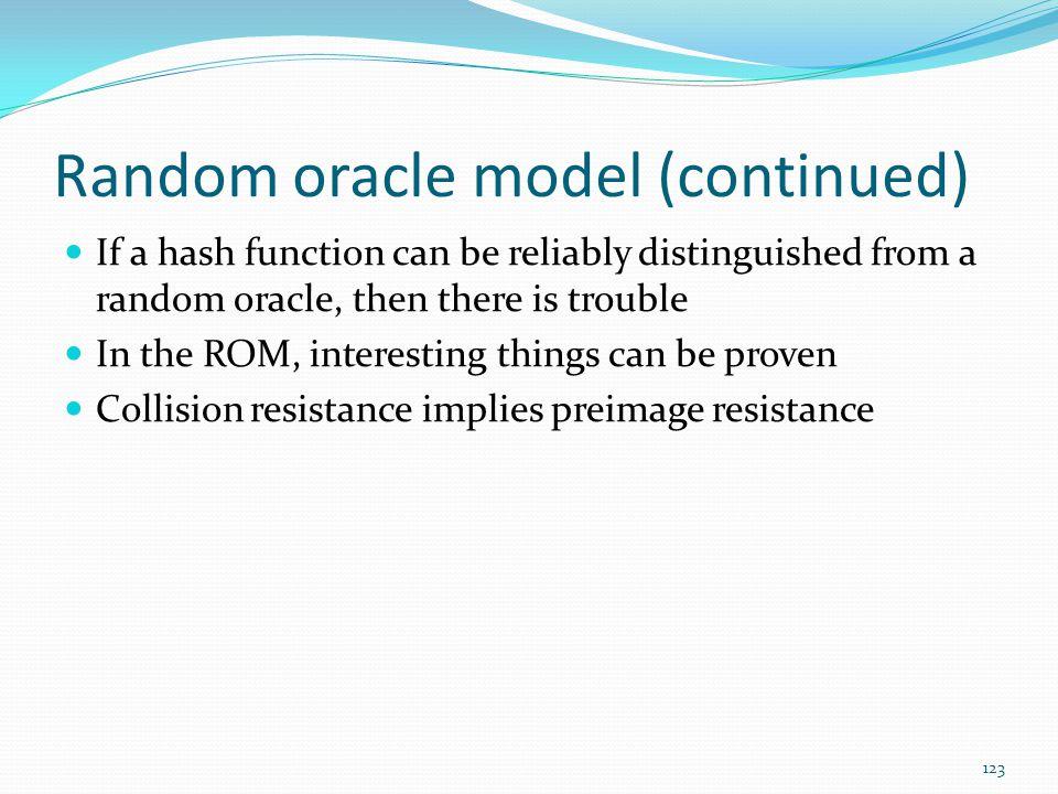 Random oracle model (continued)