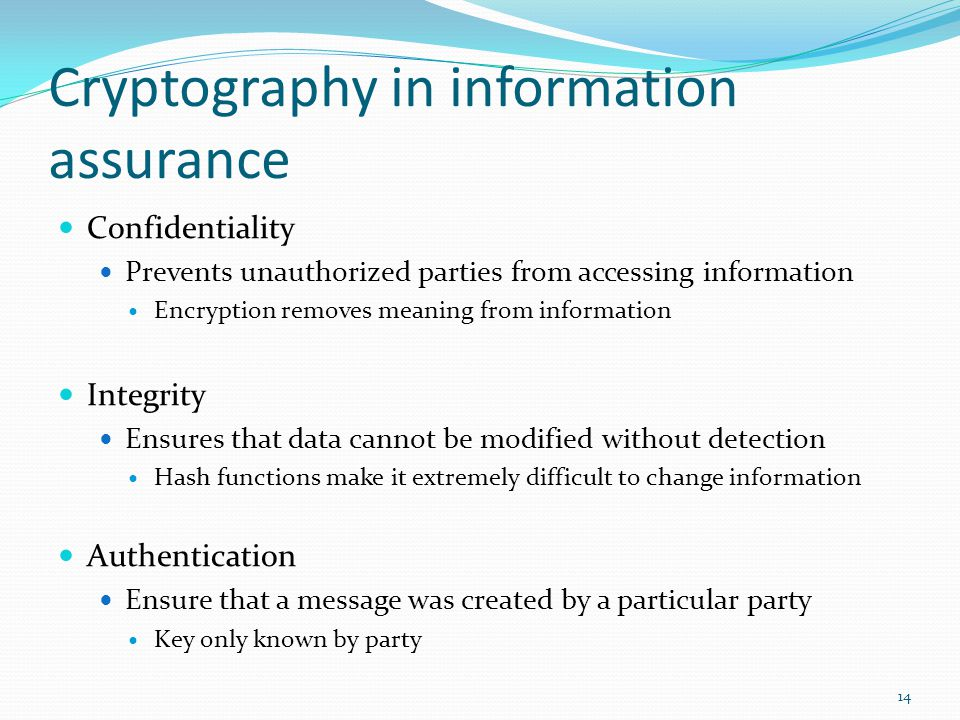 Cryptography in information assurance