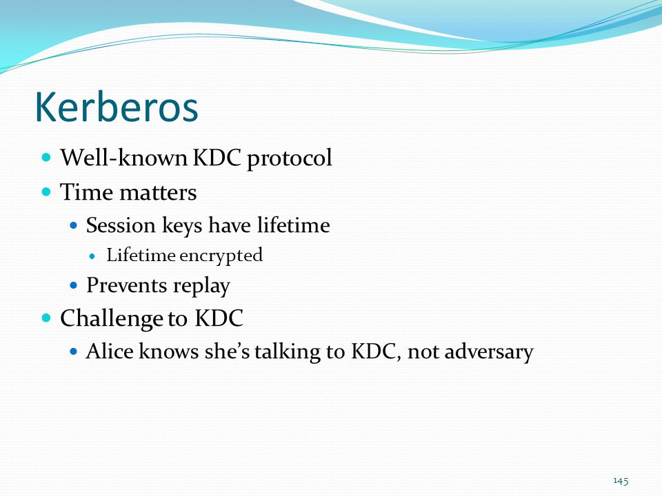 Kerberos Well-known KDC protocol Time matters Challenge to KDC