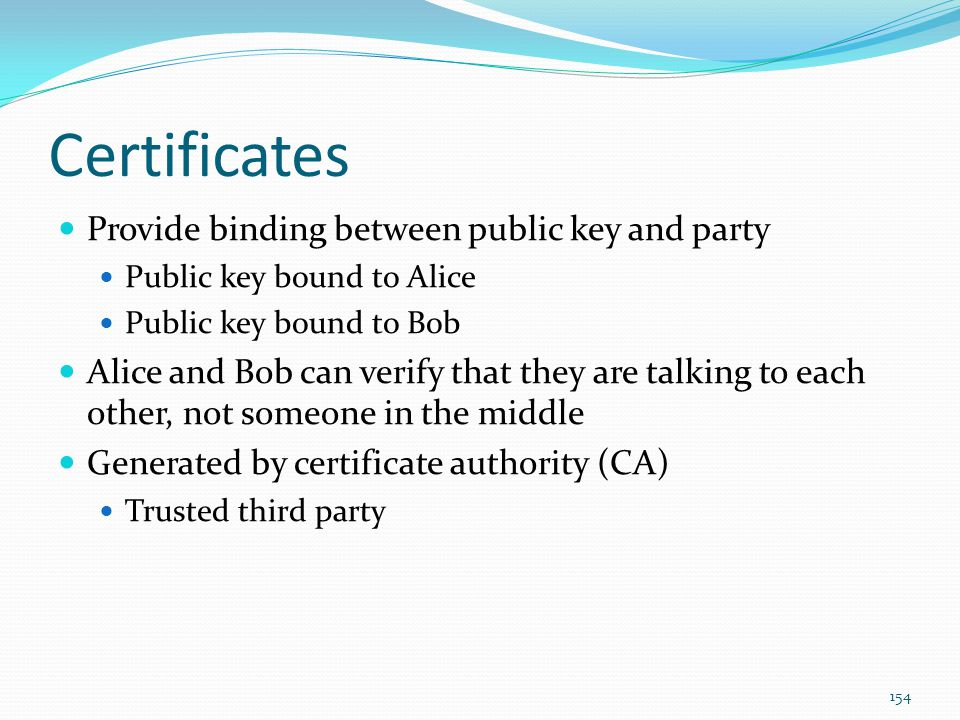 Certificates Provide binding between public key and party