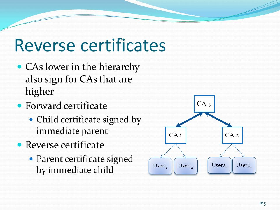 Reverse certificates CAs lower in the hierarchy also sign for CAs that are higher. Forward certificate.