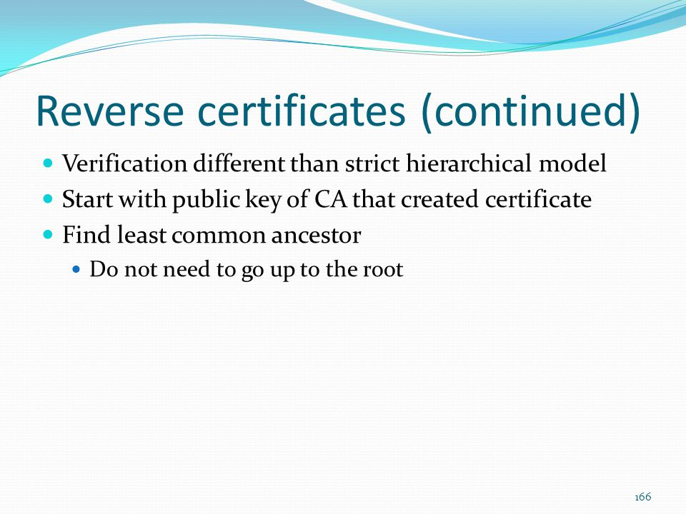 Reverse certificates (continued)