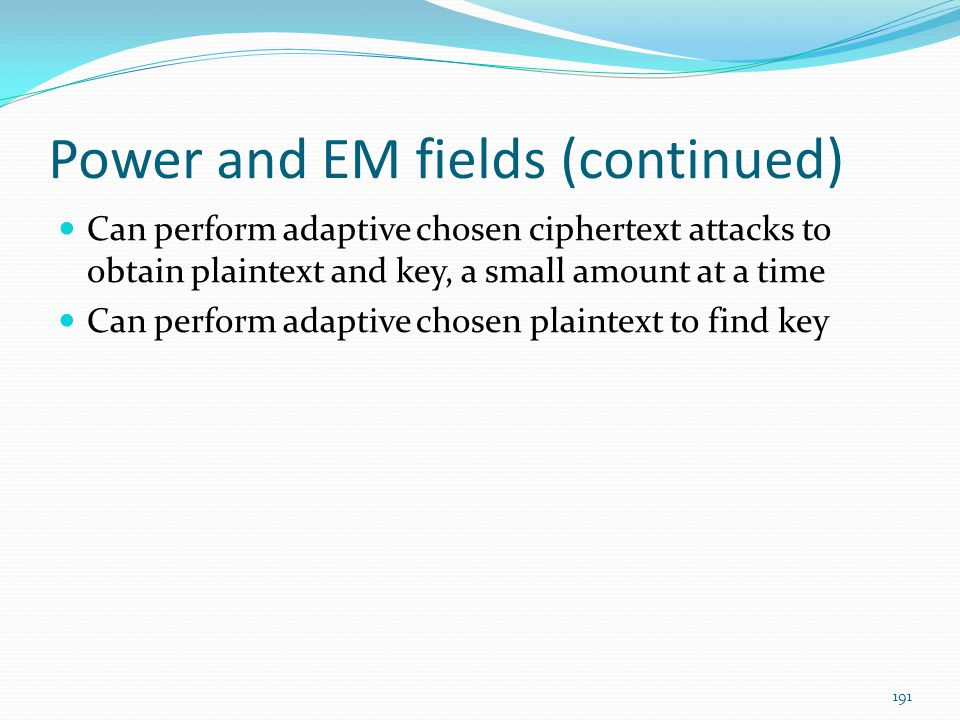 Power and EM fields (continued)
