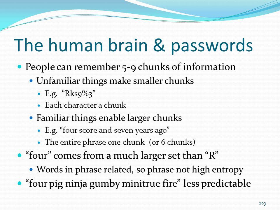 The human brain & passwords
