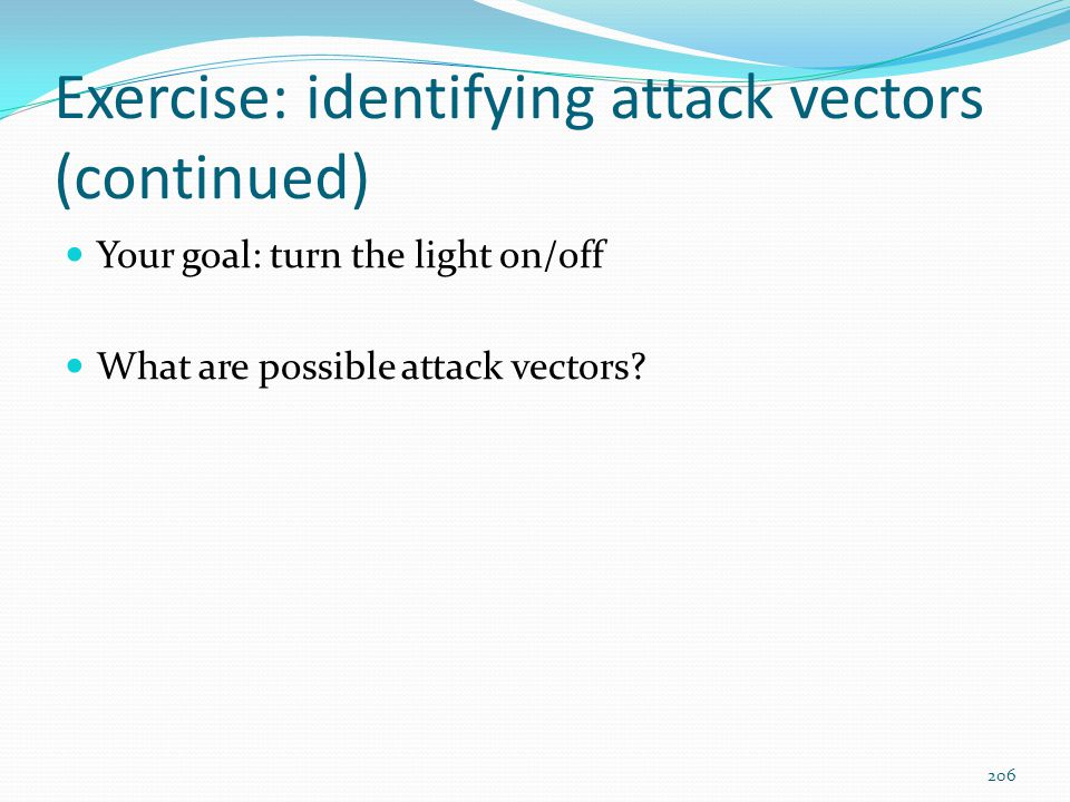 Exercise: identifying attack vectors (continued)