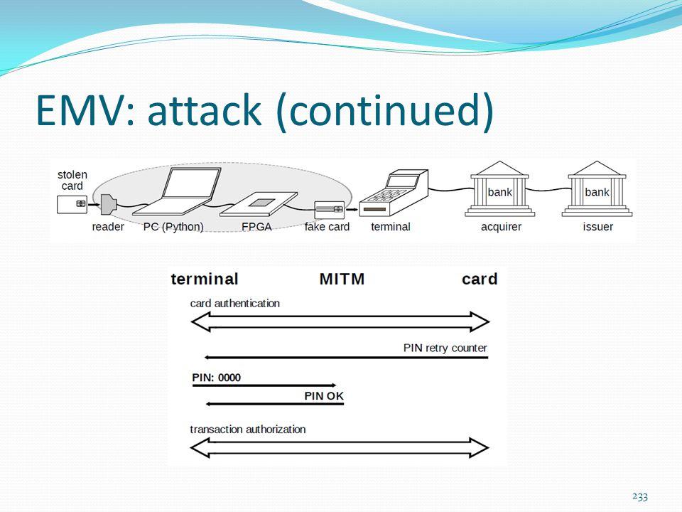 EMV: attack (continued)