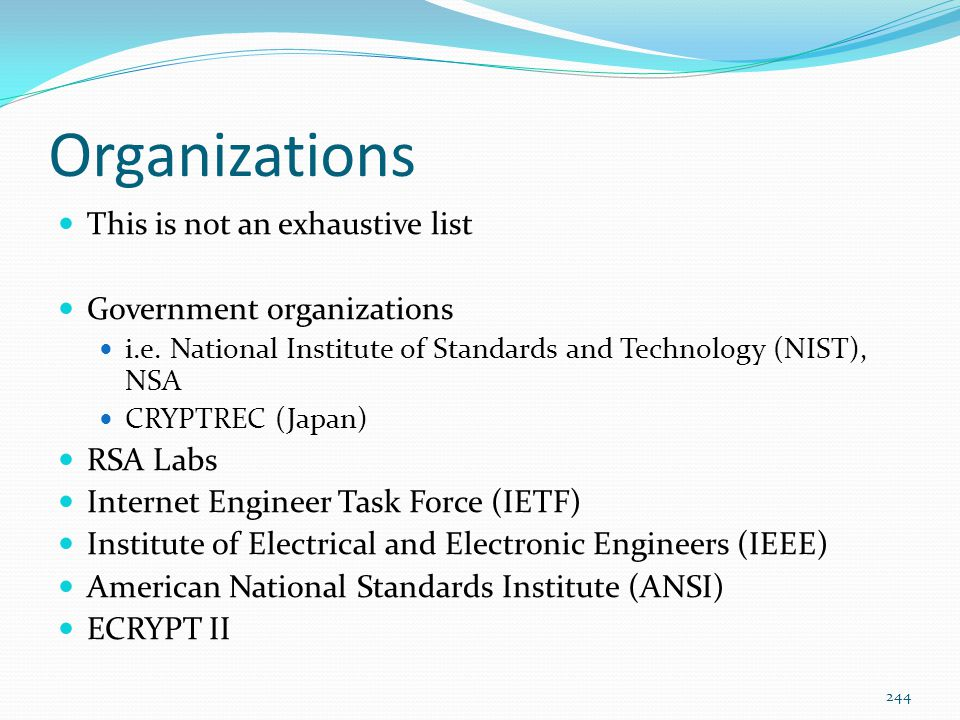 Organizations This is not an exhaustive list Government organizations