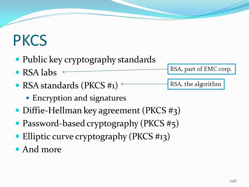 PKCS Public key cryptography standards RSA labs