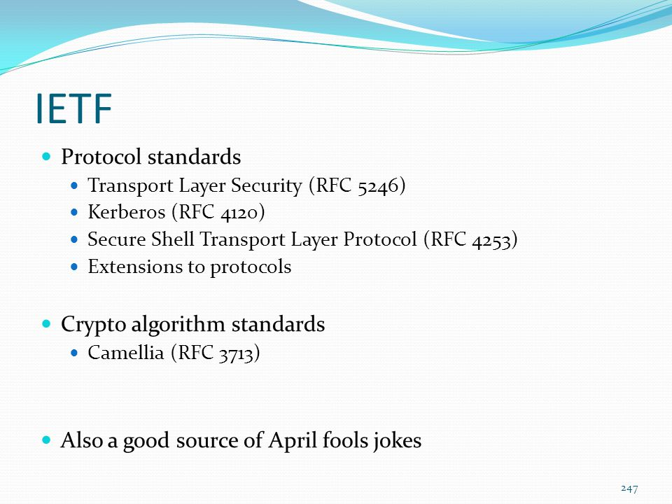 IETF Protocol standards Crypto algorithm standards