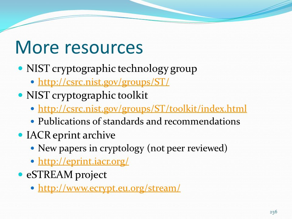 More resources NIST cryptographic technology group