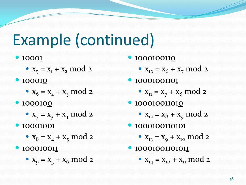 Example (continued) 10001. x5 = x1 + x2 mod 2. 100010. x6 = x2 + x3 mod 2. 1000100. x7 = x3 + x4 mod 2.