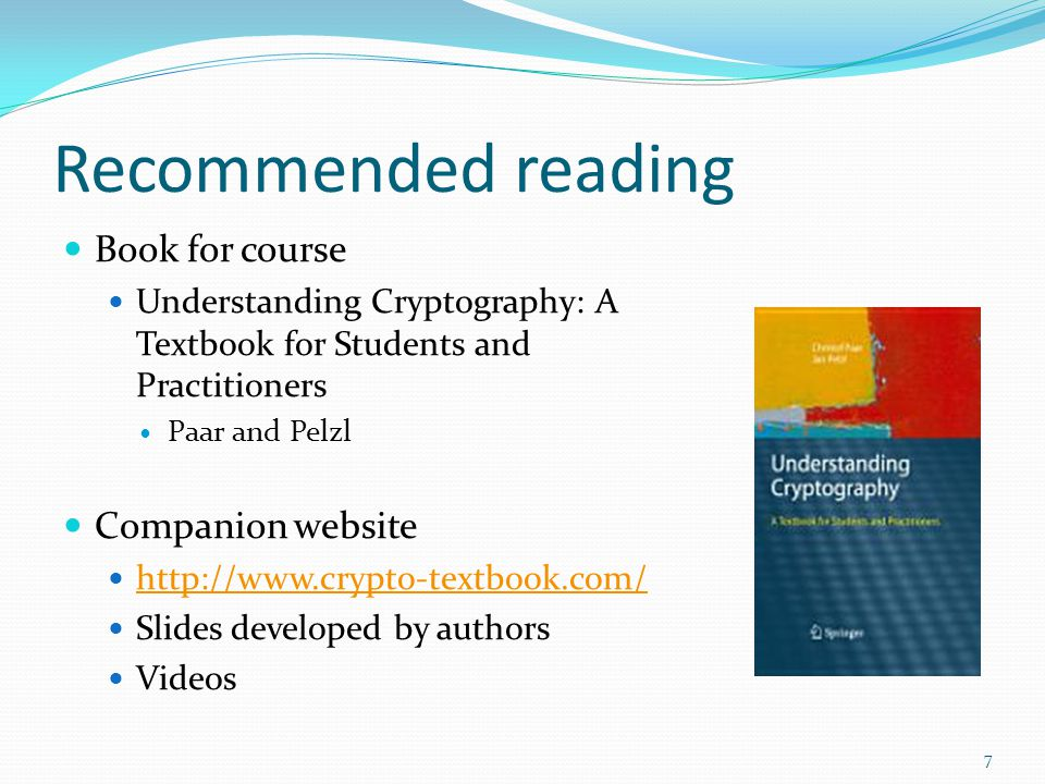 Recommended reading Book for course Companion website