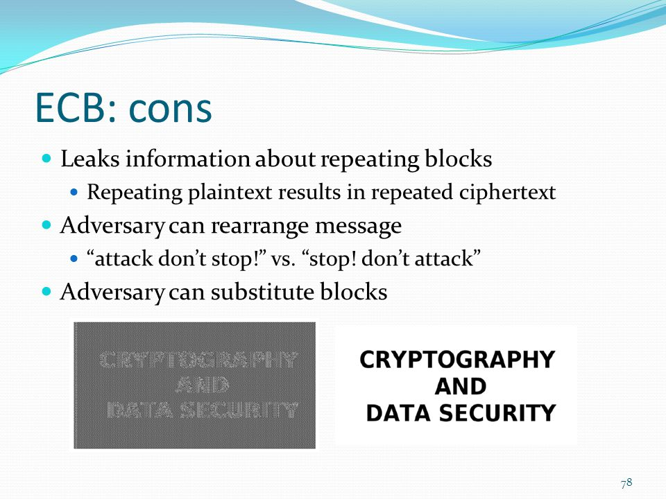 ECB: cons Leaks information about repeating blocks
