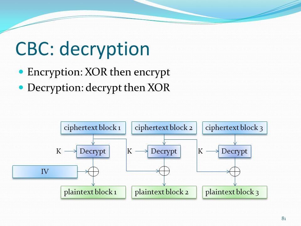 CBC: decryption Encryption: XOR then encrypt