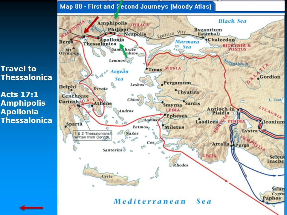 Travel to Thessalonica Acts 17:1 Amphipolis Apollonia