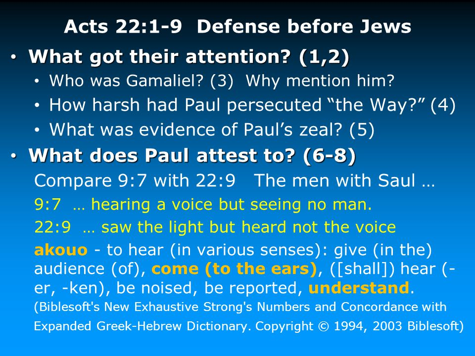 Acts 22:1-9 Defense before Jews