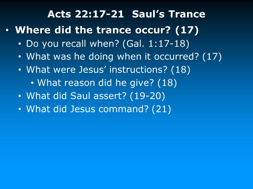Where did the trance occur (17)