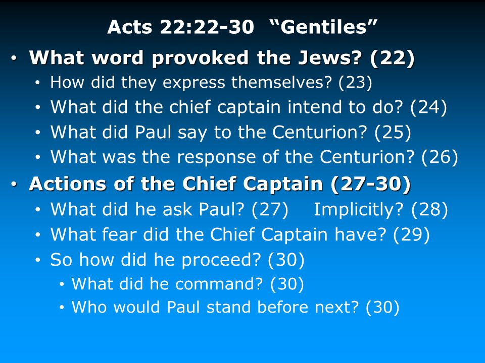 What word provoked the Jews (22)