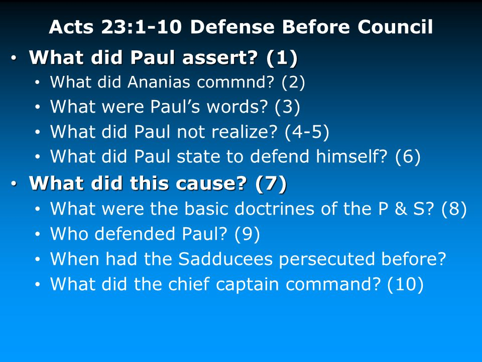 Acts 23:1-10 Defense Before Council