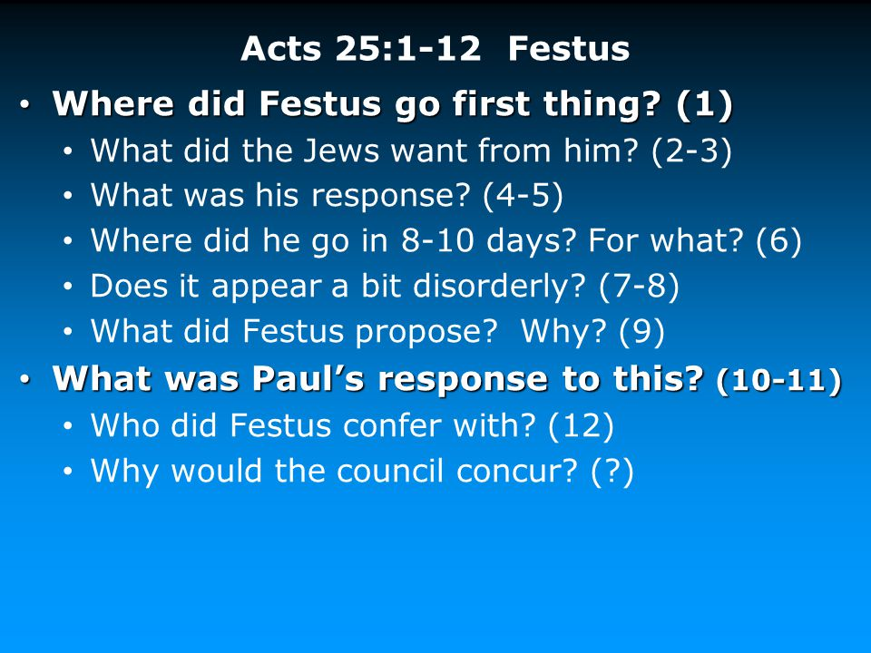 Where did Festus go first thing (1)