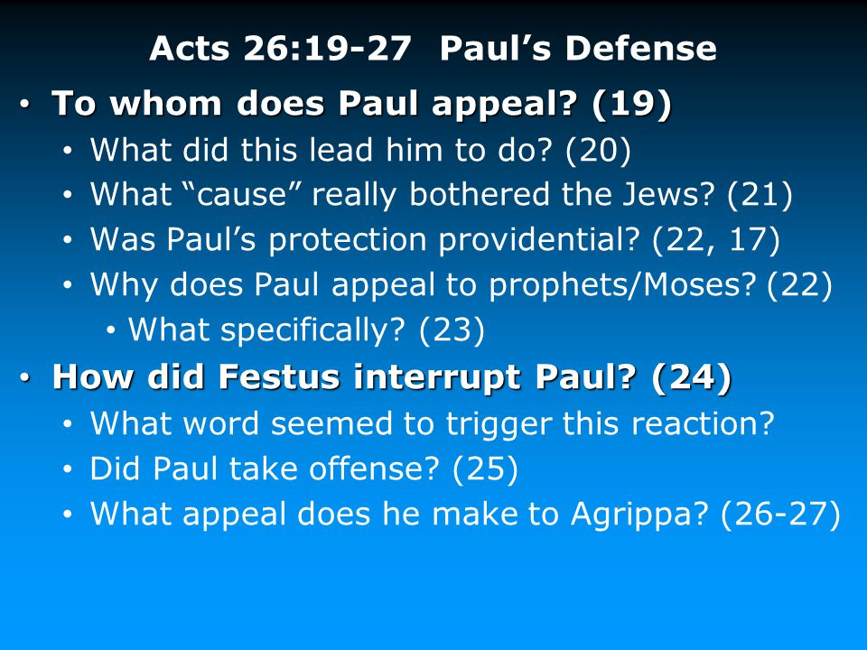 To whom does Paul appeal (19)
